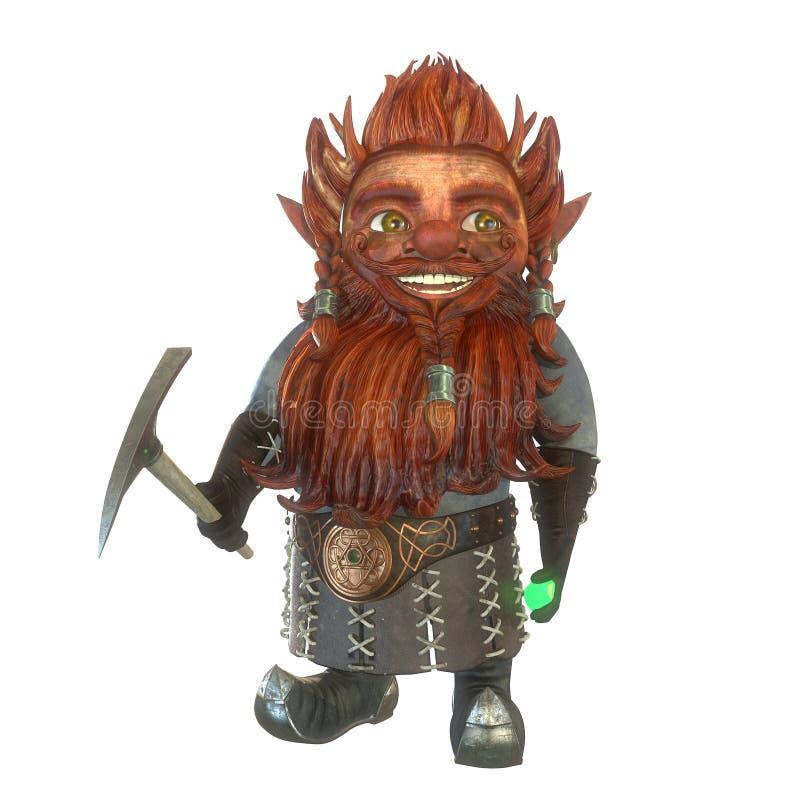Mineur de Gnome avec la sélection et l'illustration verte du cristal 3d illustration stock