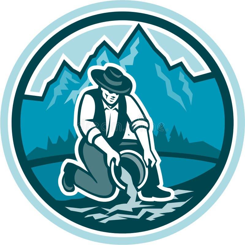 Mineur Panning Circle Retro de prospecteur d'or illustration stock