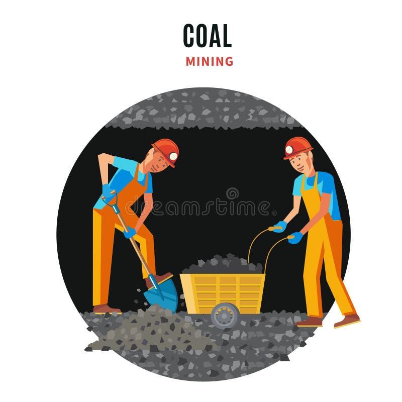 Mineur professionnel People Flat Template illustration stock