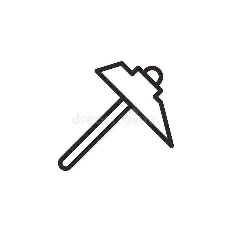 Mineur, sélection, icône de vecteur d'outil r Ligne mince ic?ne pour la conception de site Web illustration stock