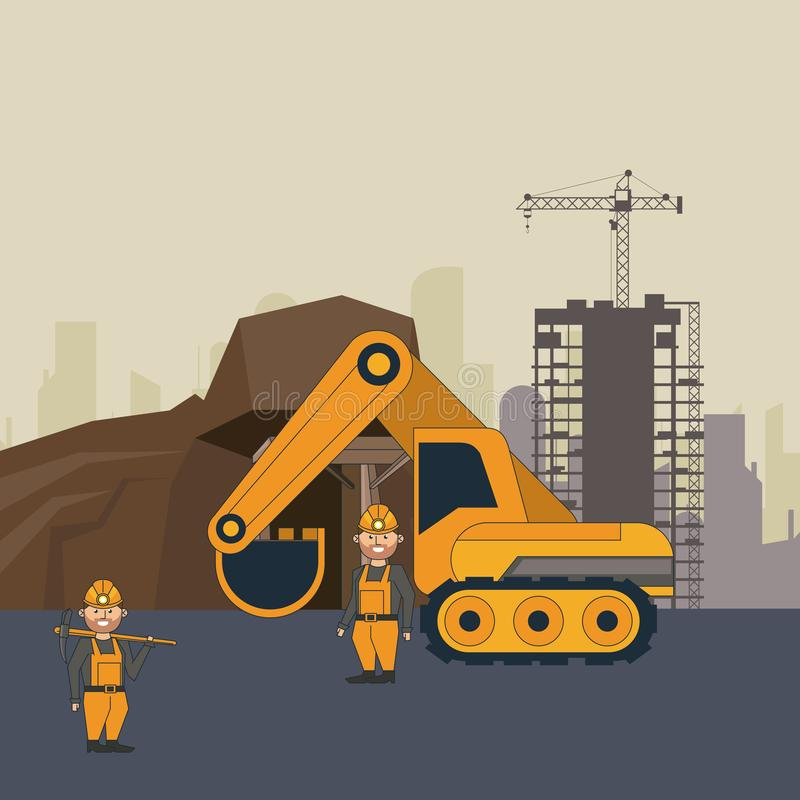 Ming cave with workers and backhoe. Over construction zone vector illustration graphic design vector illustration