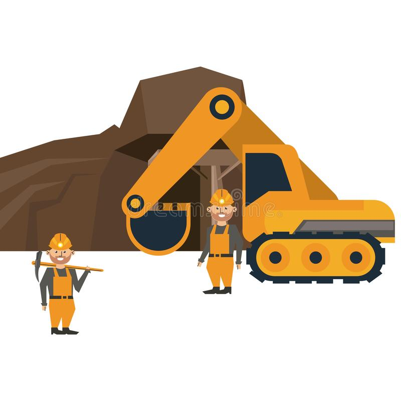 Ming cave with workers and backhoe. Vector illustration graphic design royalty free illustration