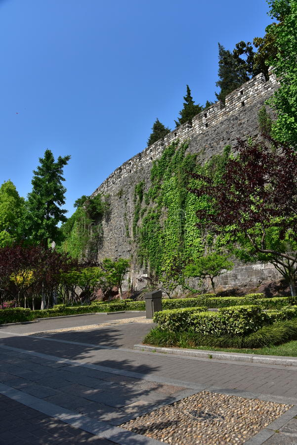Ming Dynasty City Wall in the spring stock images