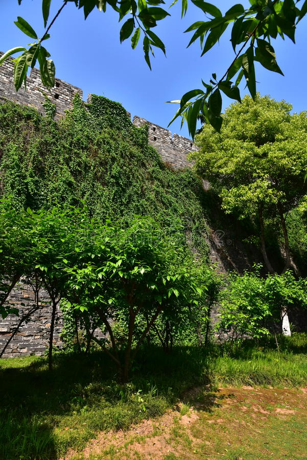 Ming Dynasty City Wall in the spring royalty free stock image