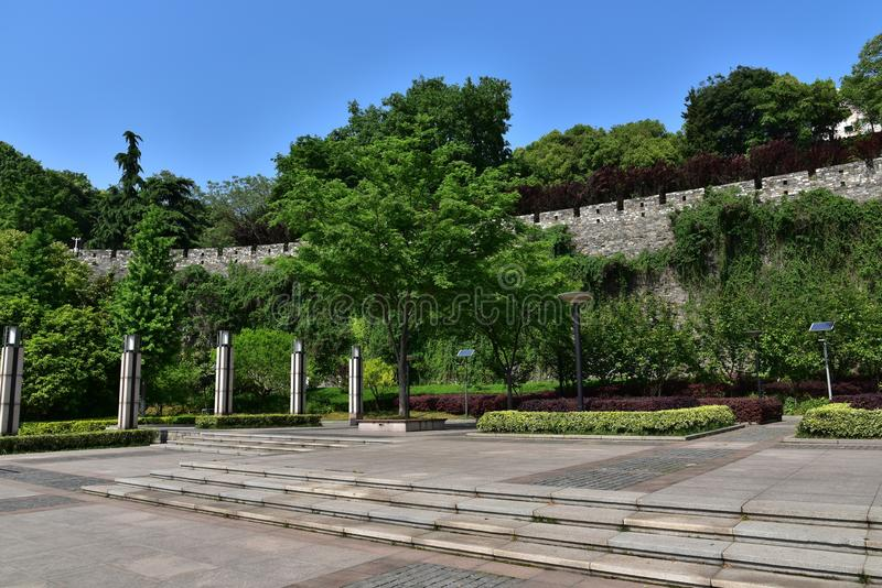 Ming Dynasty City Wall in the spring stock photo