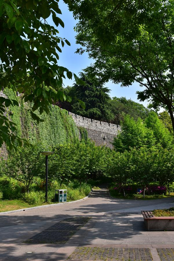 Ming Dynasty City Wall in the spring stock photos
