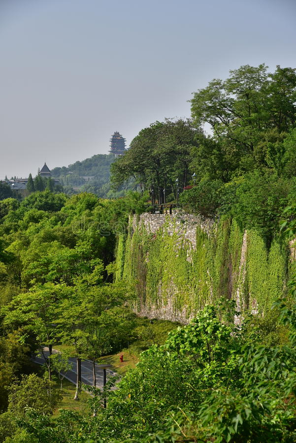 Ming Dynasty City Wall in the spring stock photography