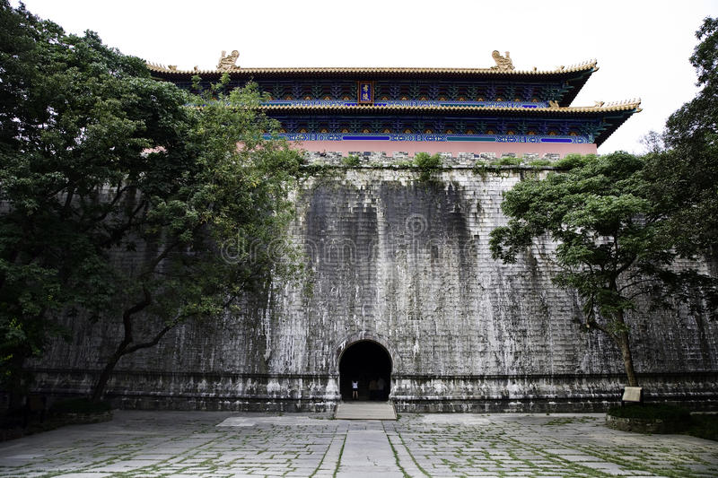 Ming Dynasty Gate. A Ming dynasty temple at the Ming Xiaoling Mausoleum in Nanjing, China stock photo