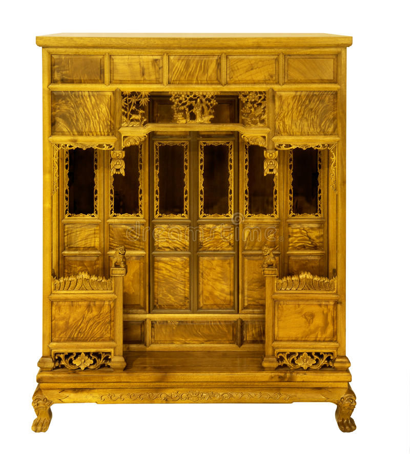 Ming-style furniture of hardwood. The ancientniche for a statue of the Buddha chinese furniture hardwood Ming-style silkwood side face after an antique in the royalty free stock image