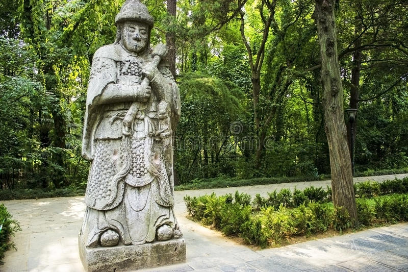 Ming Xiaoling Tombs, Nanjing China. An ancient stone guardian statues on the Sacred Way at the Ming Xiaoling Tombs in Nanjing, China royalty free stock images