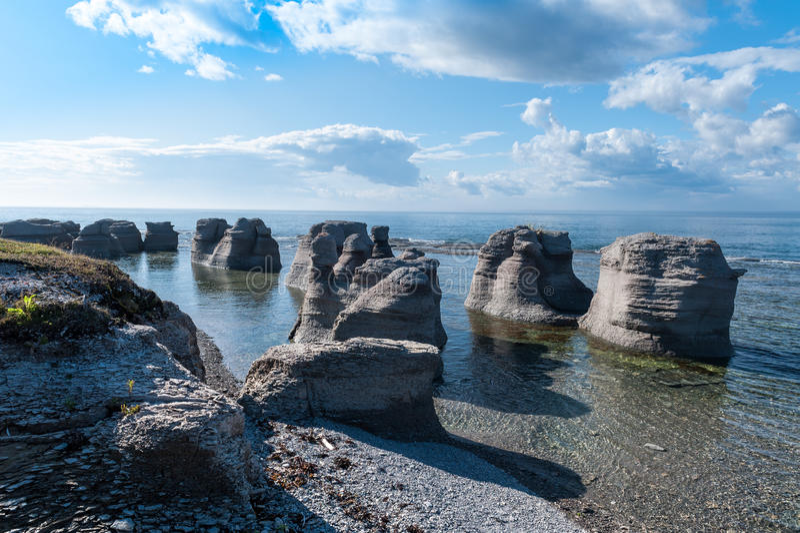 Mingan Monoliths. Monoliths of Mingan Archipelago National Park Reserve of Canada royalty free stock image