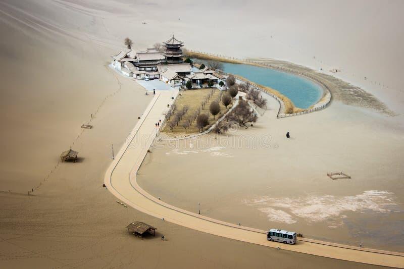Mingsha shan desert and Crescent moon lake in Dunhuang, Gansu, C royalty free stock photo