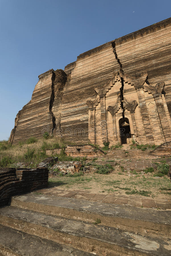 Mingun Pagoda, ancient ruins of Mingun, Mandalay, Myanmar. Mingun Pagoda is an incomplete stupa in Mingun, northwest of Mandalay in Myanmar royalty free stock photos