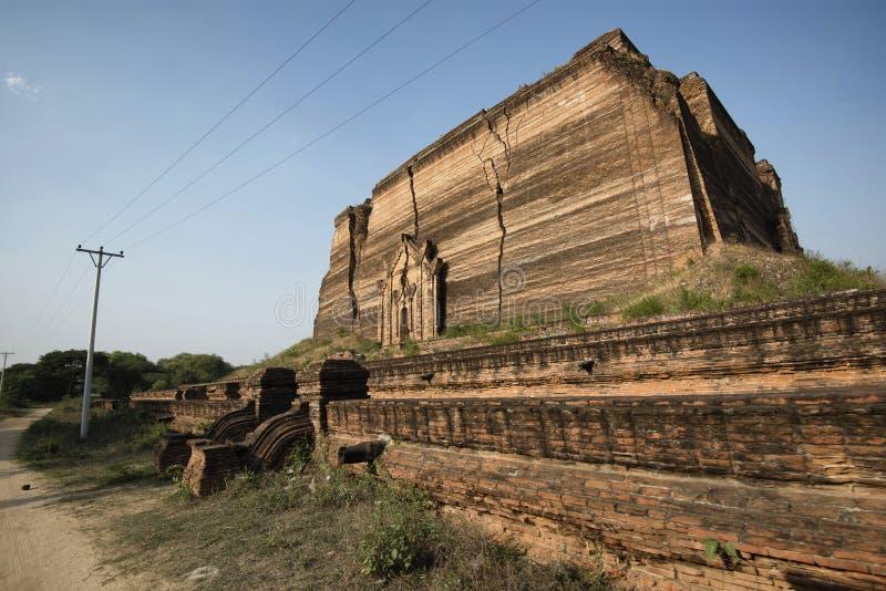 Mingun Pagoda, ancient ruins of Mingun, Mandalay, Myanmar. Mingun Pagoda is an incomplete stupa in Mingun, northwest of Mandalay in Myanmar stock photos
