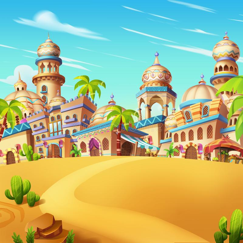 Minha cena pequena da cidade, cidade do deserto ilustração do vetor