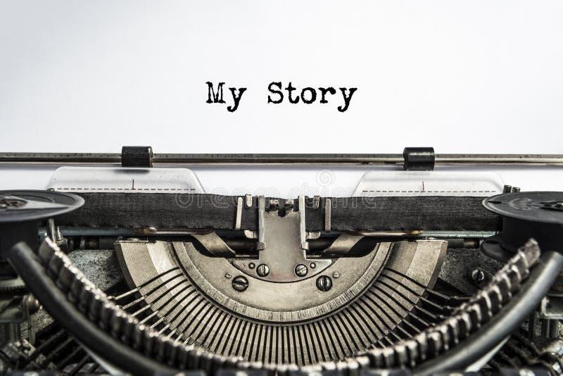 Minha história, datilografada palavras em uma máquina de escrever do vintage foto de stock