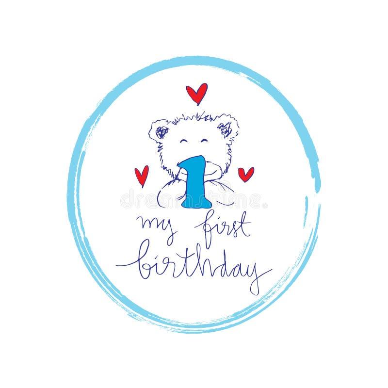 Minha primeira rotulação do aniversário com urso bonito ilustração stock
