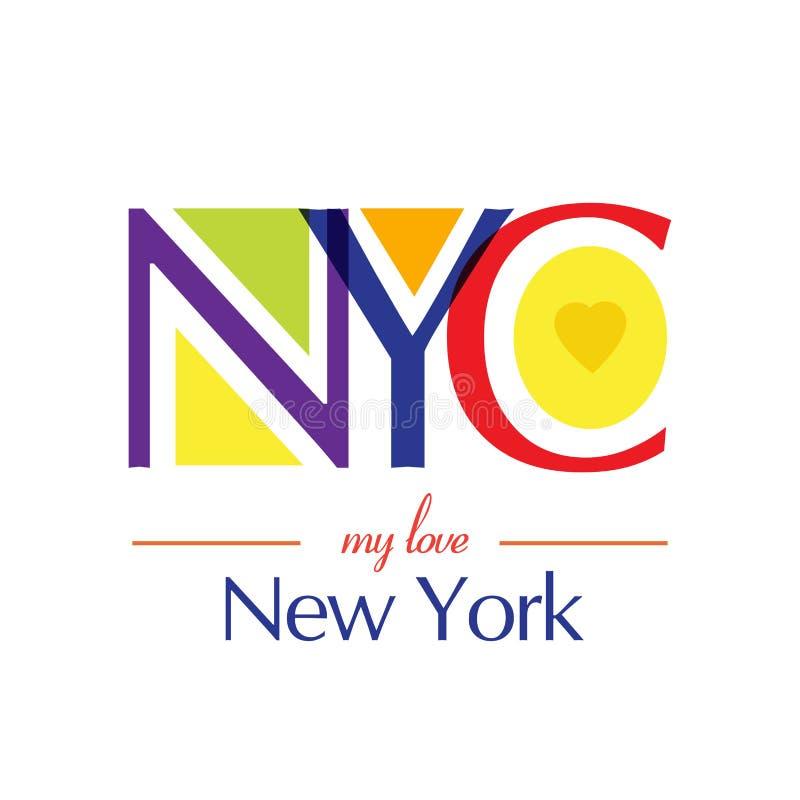 Minha tipografia de New York do amor, gráficos da cópia do t-shirt, ilustração do vetor ilustração stock