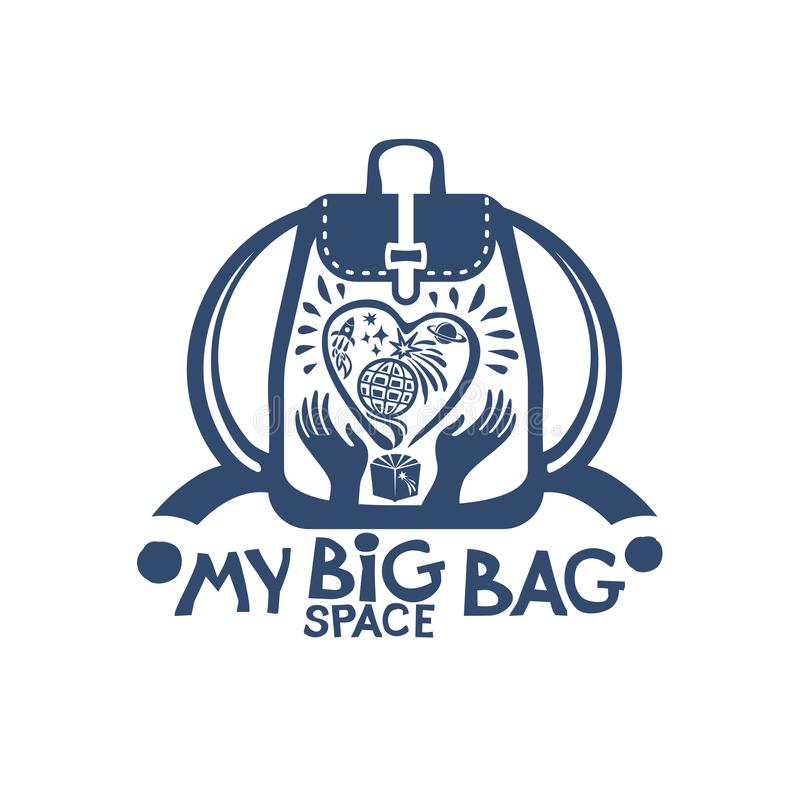 Minha trouxa grande do saco do espaço com um coração grande e planetas no espaço em suas mãos ilustração royalty free