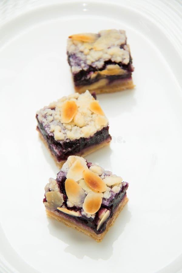 Mini świezi czarna jagoda kulebiaki na bielu talerzu fotografia royalty free