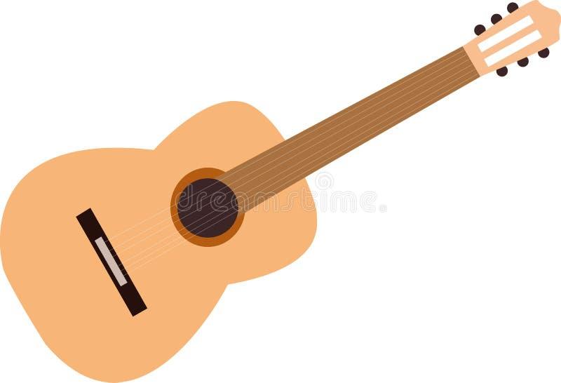 Mini Acoustic Guitar. On White Background stock illustration