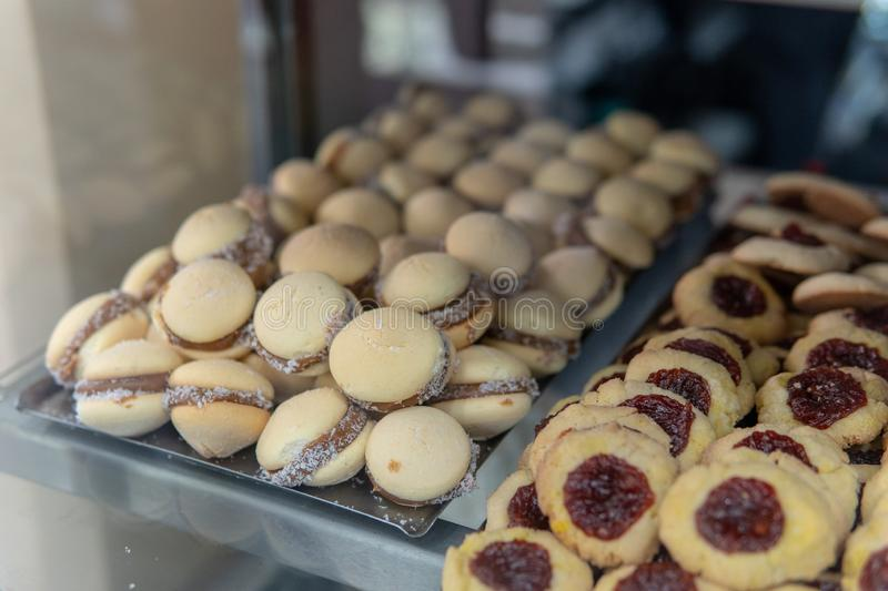 Mini Alfajores Cookies on display in Argentina. Freshly made pastries being sold in a bakery in Buenos Aires, Argentina, brazil, chile, food, south, america royalty free stock image