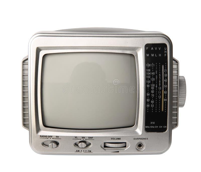 Mini analog television with transistor radio isolated clipping p. Mini analog television with transistor radio isolated over white background, clipping path royalty free stock image