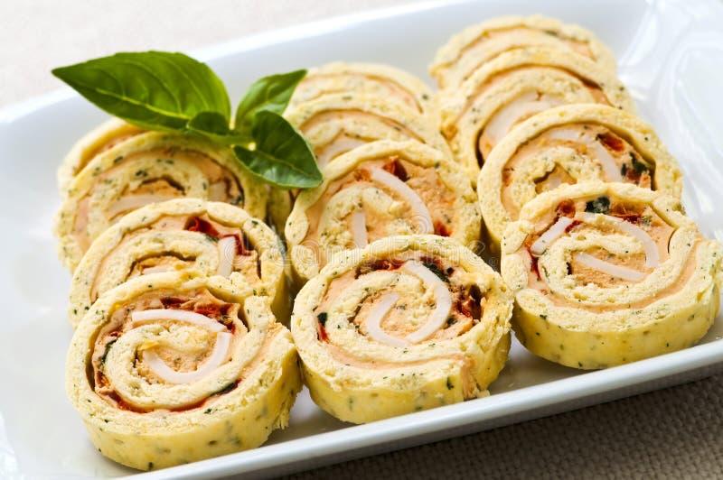 Mini apéritifs de roulis de spirale de sandwich image libre de droits