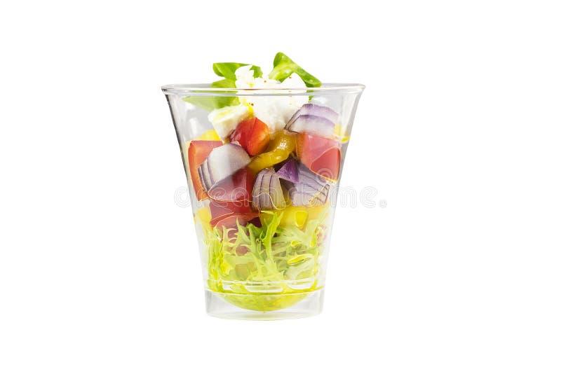 Mini aperitivos del canap vegetal en platos disponibles plásticos imagenes de archivo