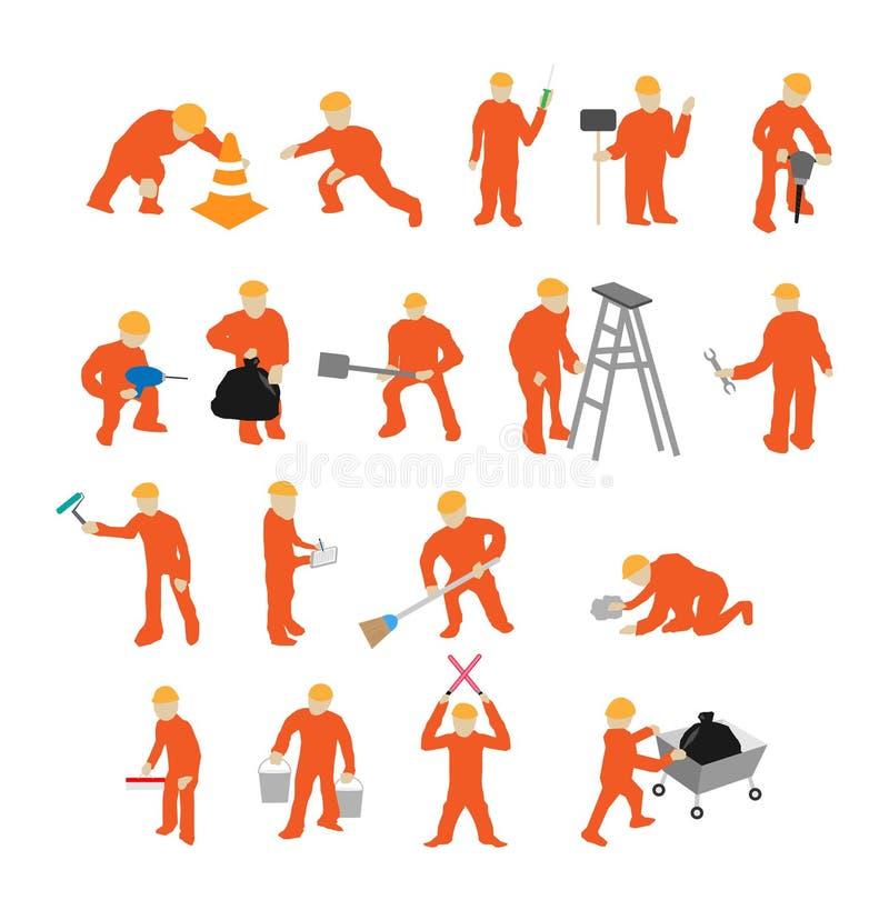 Mini- arbetararbete royaltyfri illustrationer