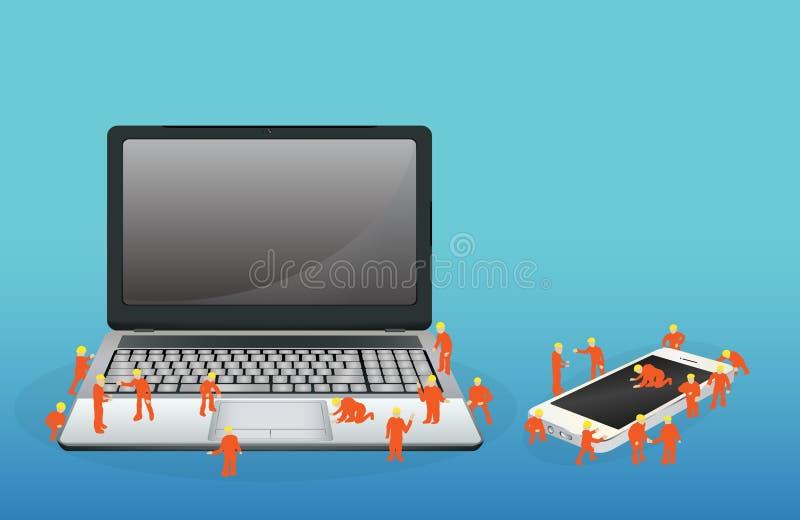 Mini- arbetare som arbetar på en bärbar datordator och en smartphone vektor illustrationer
