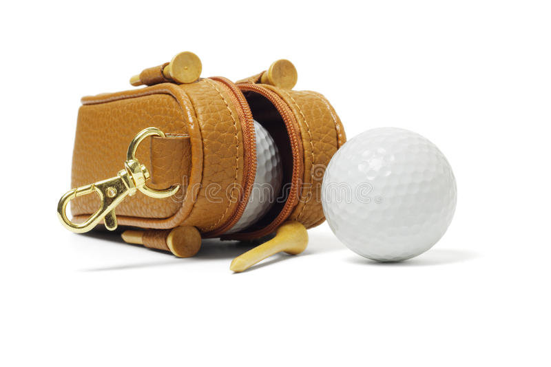 Mini bag of golf balls. And tees on white background royalty free stock images