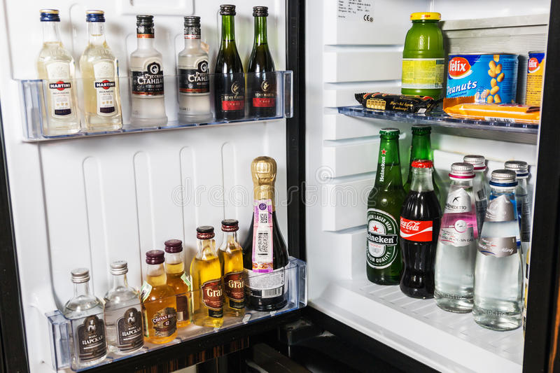 Mini bar with soft drinks, vodka, wine and beer in the hotel. Moscow, Russia - February 23, 2017: mini bar with soft drinks, vodka, wine and beer in the hotel stock photo