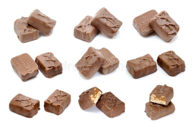Download Mini Barra Di Cioccolato Su Fondo Bianco Fotografia Stock - Immagine di mangi, disposizione: 56877730
