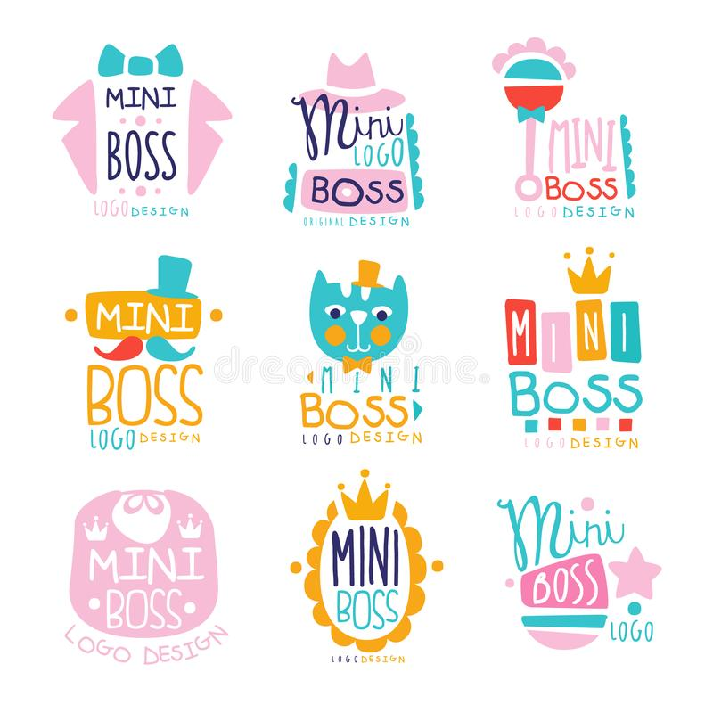 Mini boss logo original design colorful hand drawn vector Illustrations. Can be used for baby or toys shop, kids club and any other children s projects stock illustration