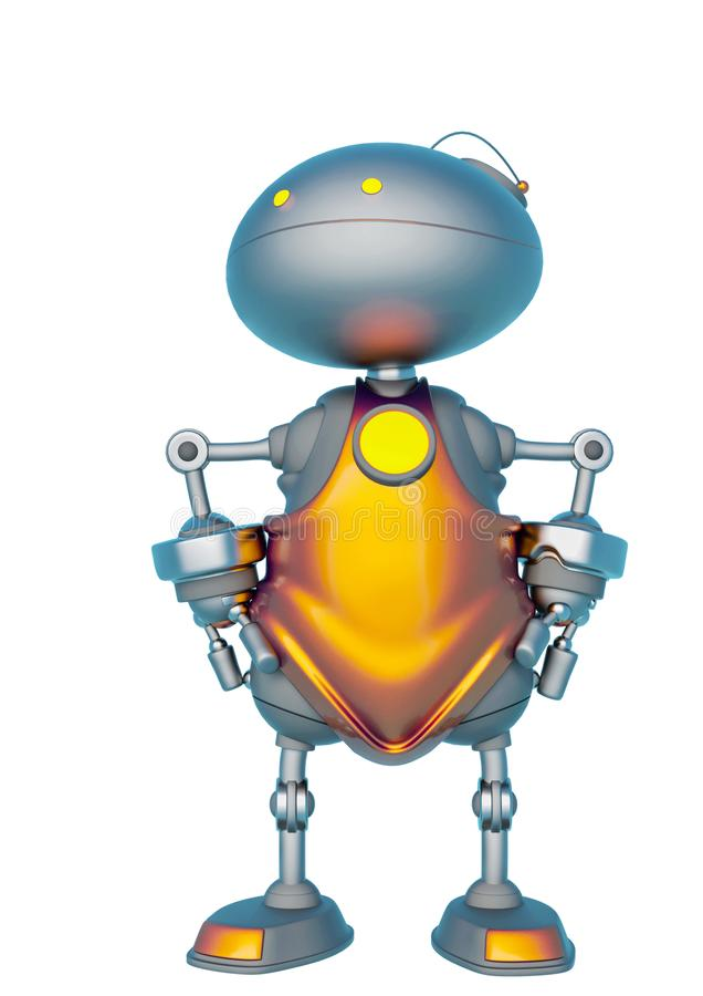 Mini bot doing a super hero pose in a white background. This robot in clipping path is very useful for graphic design creations, 3d illustration stock illustration