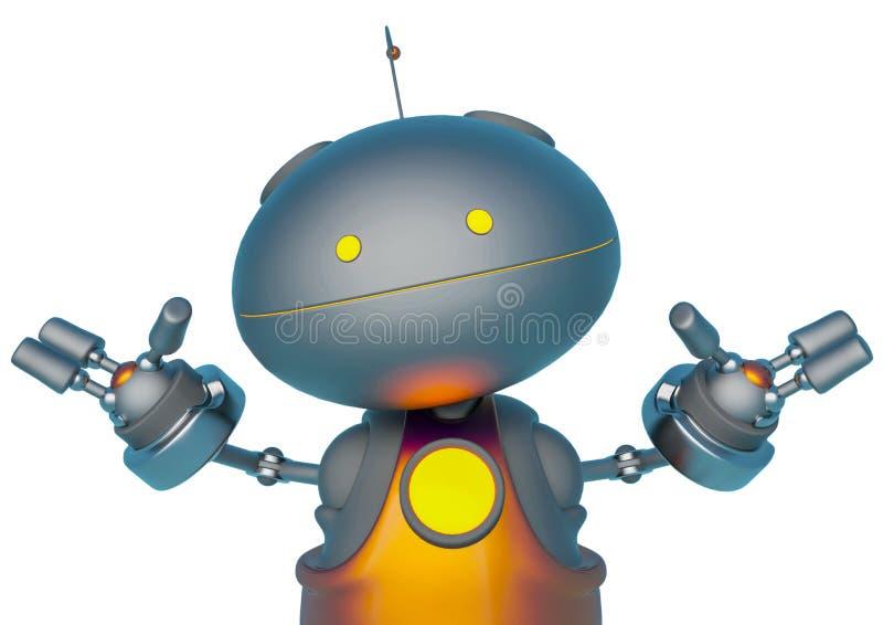 Mini bot em um fim branco do fundo acima ilustração do vetor