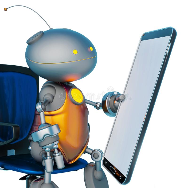Mini bot holding a cellphone in a white background royalty free illustration