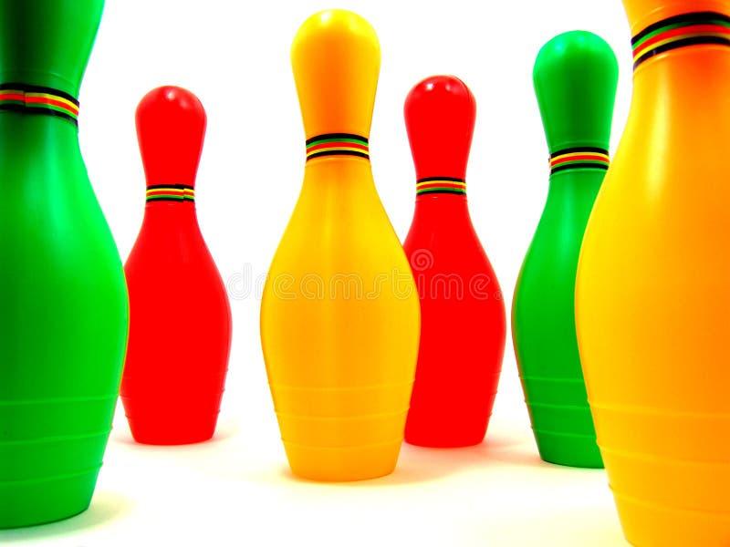 Colorful mini-bowling set royalty free stock photos