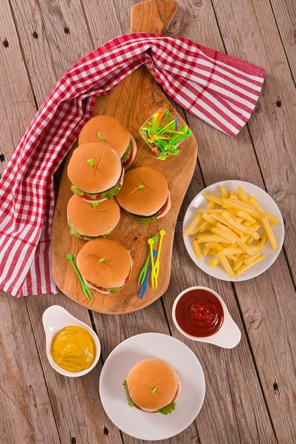 Mini Burgers image libre de droits