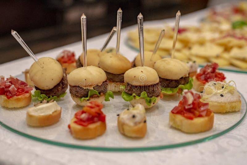 Mini Burgers And Canapes fotografia de stock