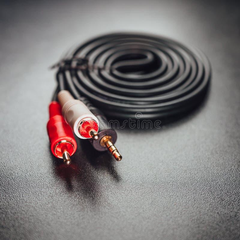 Mini câble d'audio de cric de RCA photo stock