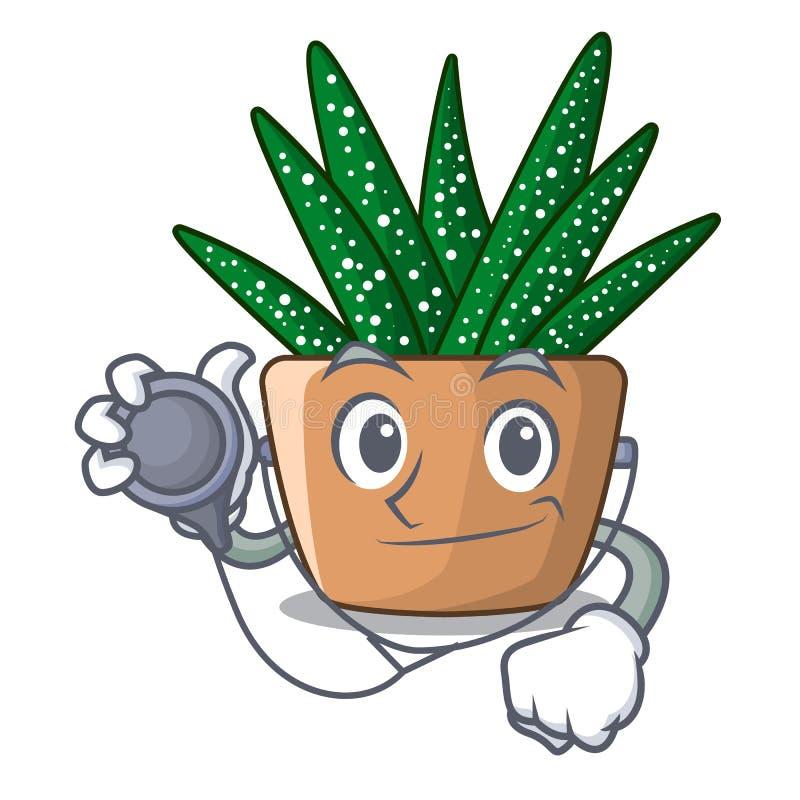 Mini cactus de la cebra del doctor en el pote de la historieta libre illustration