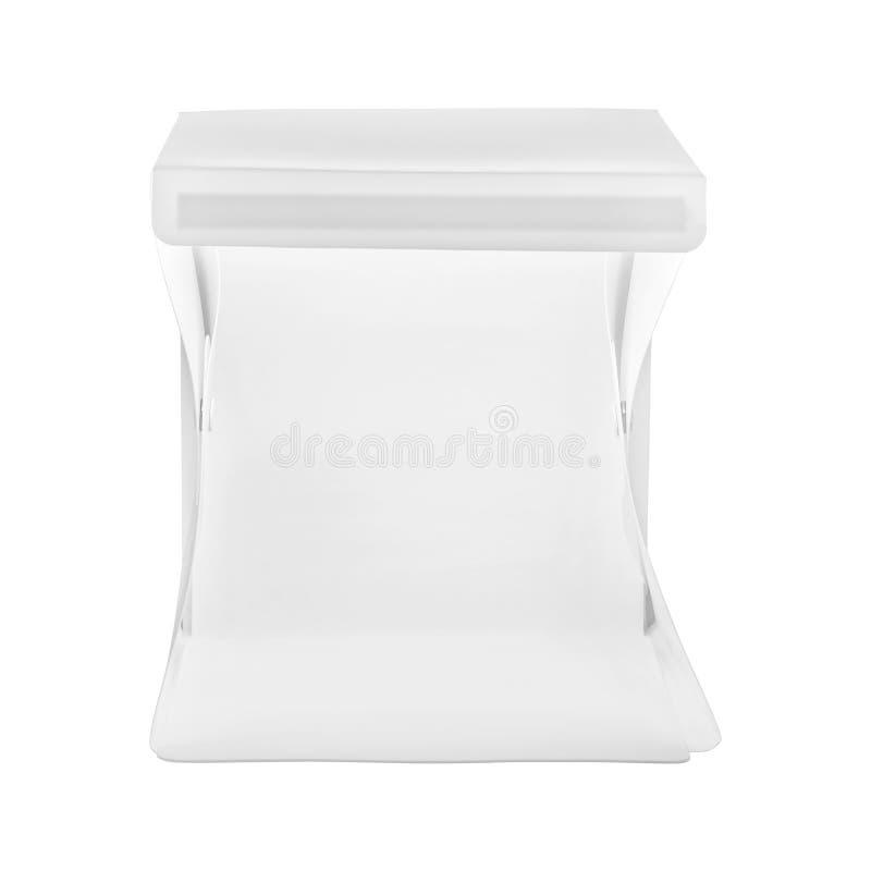 Mini caja del estudio aislada en el fondo blanco Peque?a caja de luz para la fotograf?a del producto imagen de archivo libre de regalías