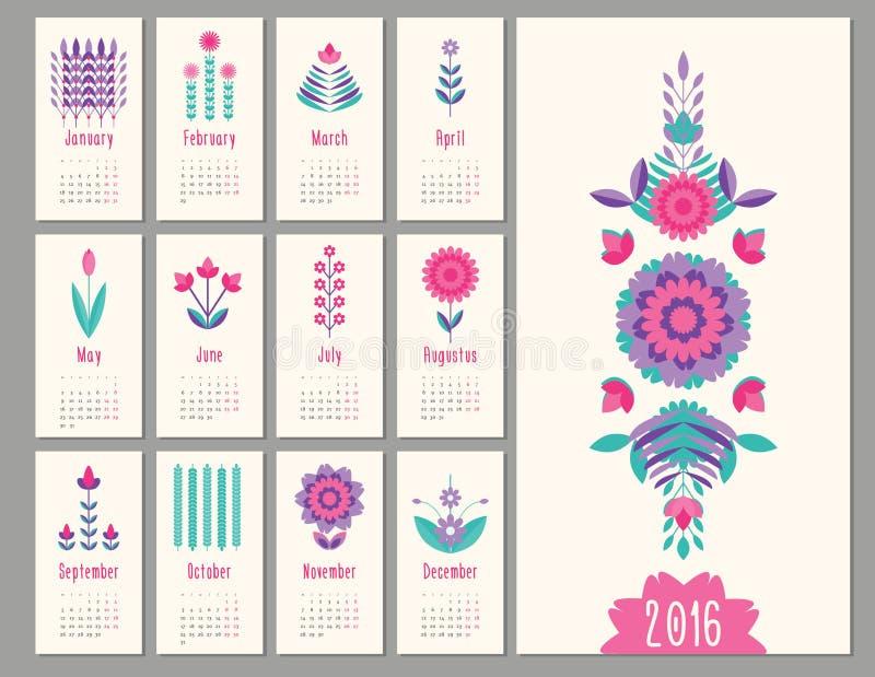 Mini calendario floreale 2016 illustrazione di stock