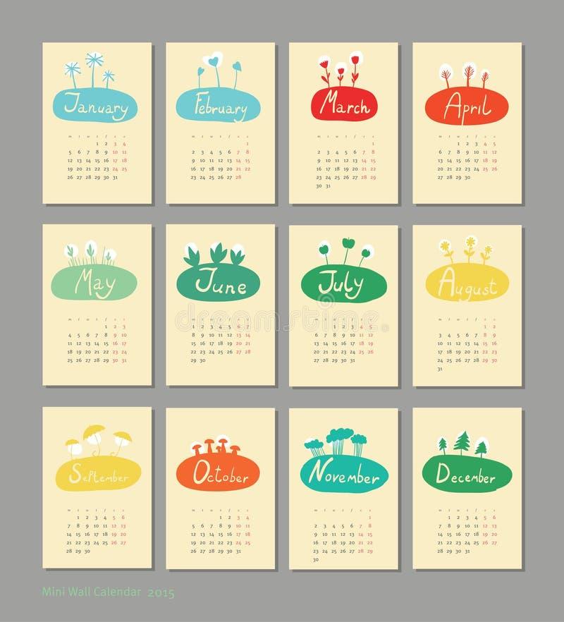 Mini calendario sveglio 2015 stagioni illustrazione di stock