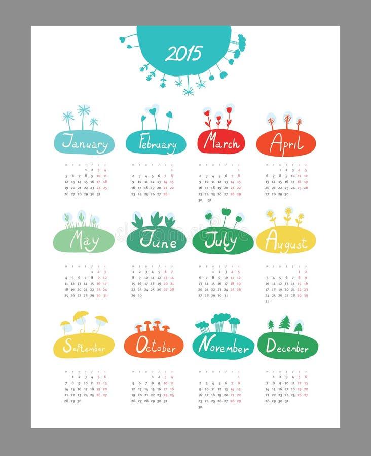 Mini calendario sveglio 2015 stagioni royalty illustrazione gratis