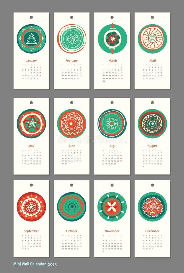 Mini calendario sveglio 2015 stagioni illustrazione vettoriale