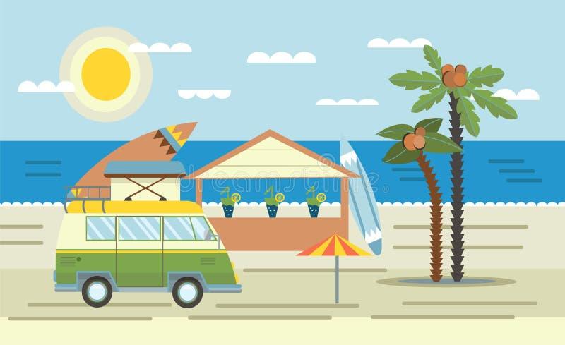 Mini camionete com placa de ressaca no telhado na barra do mar e da praia Ilustração do vetor no estilo liso ilustração do vetor