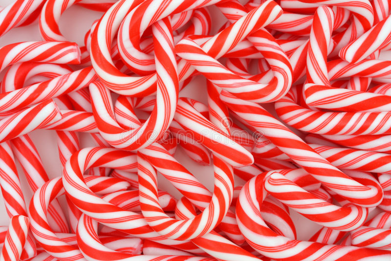 Mini Candy Canes. A Christmas background of mini candy canes royalty free stock photography